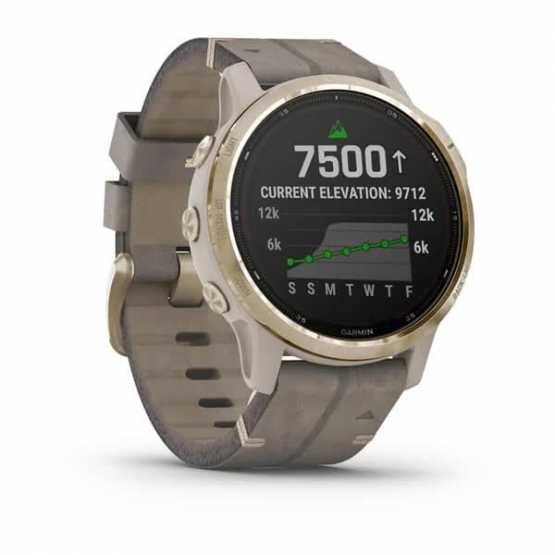 Garmin Fenix 6S Pro Solar Edition Light gold with shale grey suede band (010-02409-26)