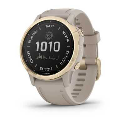 Часы Garmin Fenix 6S Pro Solar Edition Light gold with light sand band