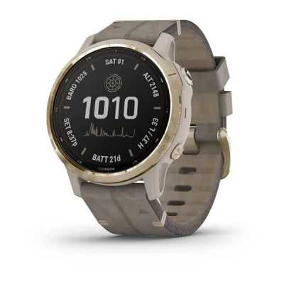 Часы Garmin Fenix 6S Pro Solar Edition Light gold with shale grey suede band