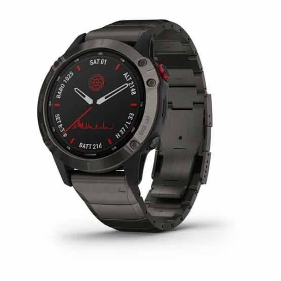 Garmin Fenix 6 Pro Solar Edition Carbon Titanium Gray DLC with Titanium DLC Band (010-02410-23)