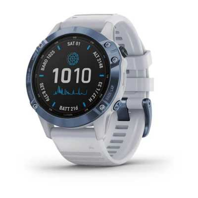 Часы Garmin Fenix 6 Pro Solar Edition Mineral Blue Titanium with Whitestone Band