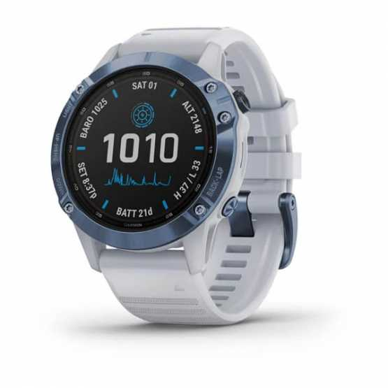 Garmin Fenix 6 Pro Solar Edition Mineral Blue Titanium with Whitestone Band (010-02410-19)