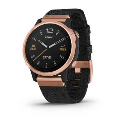 Garmin Fenix 6S Rose Gold-tone with Heathered Black Nylon Band