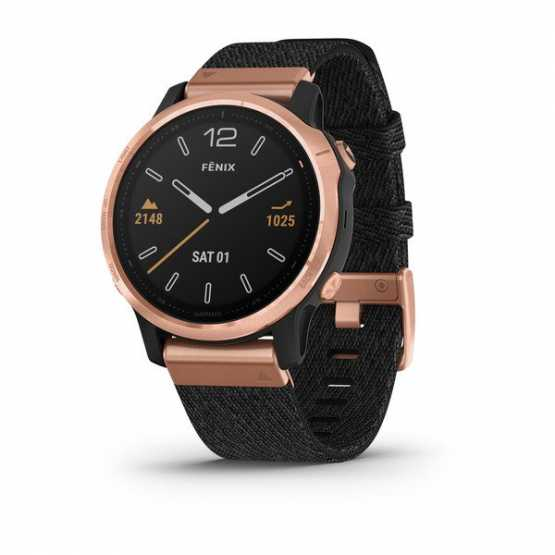 Годинник для мультиспорту Garmin Fenix 6S Sapphire Rose Gold-tone with Heathered Black Nylon Band (010-02159-37)