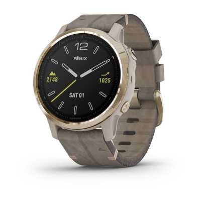 Garmin Fenix 6S Light Gold-tone with Shale Gray Leather Band