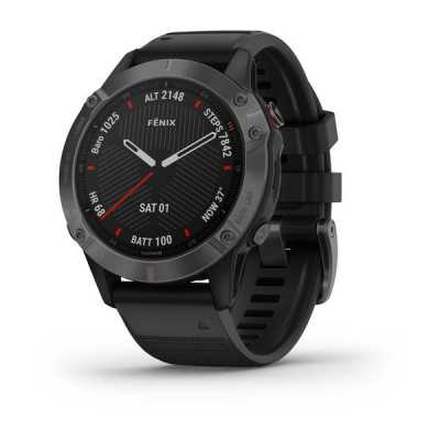 Часы Garmin Fenix 6 Carbon Gray DLC with Black Band