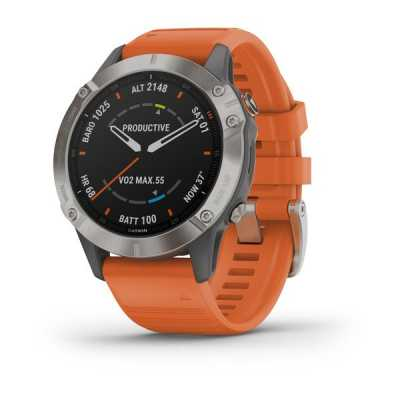 Часы Garmin Fenix 6 Titanium with Ember Orange Band