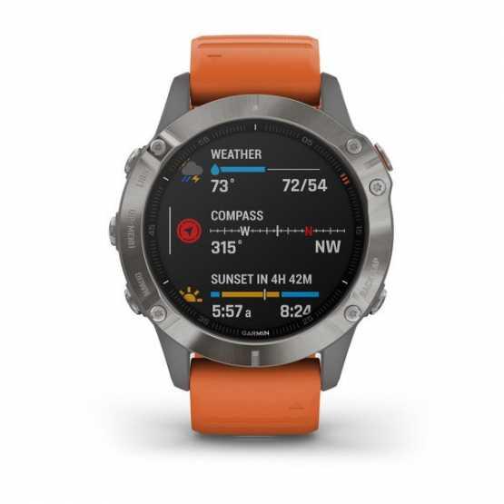 Часы для мультиспорта Garmin Fenix 6 Sapphire Titanium with Ember Orange Band (010-02158-14)