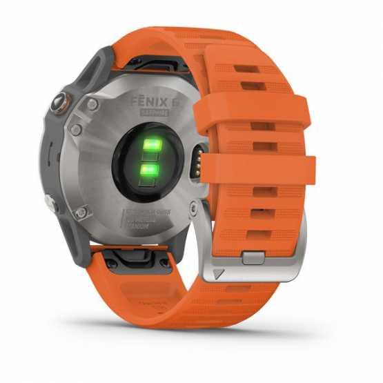 Годинник для мультиспорту Garmin Fenix 6 Titanium with Ember Orange Band (010-02158-14)