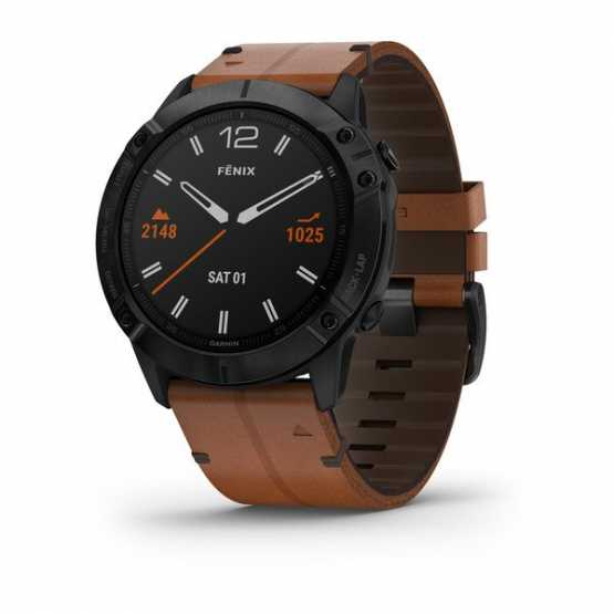 Годинник для мультиспорту Garmin Fenix 6X Sapphire Black DLC with Chestnut Leather Band (010-02157-14)