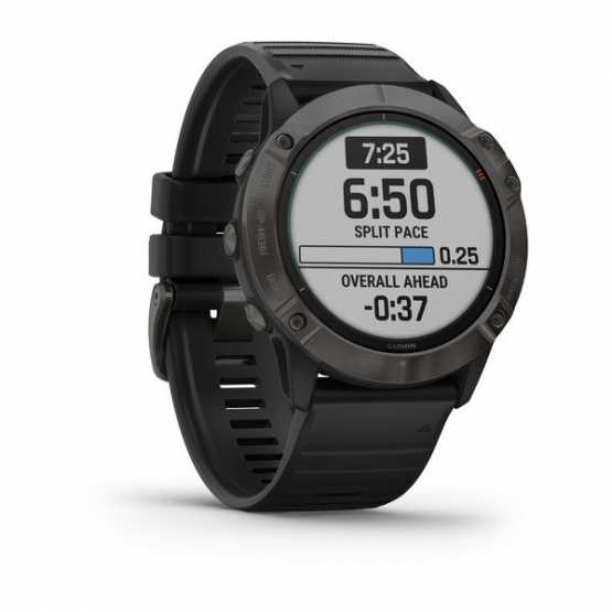Часы для мультиспорта Garmin Fenix 6X Pro Solar Titanium Carbon Gray DLC with Black Band (010-02157-21)