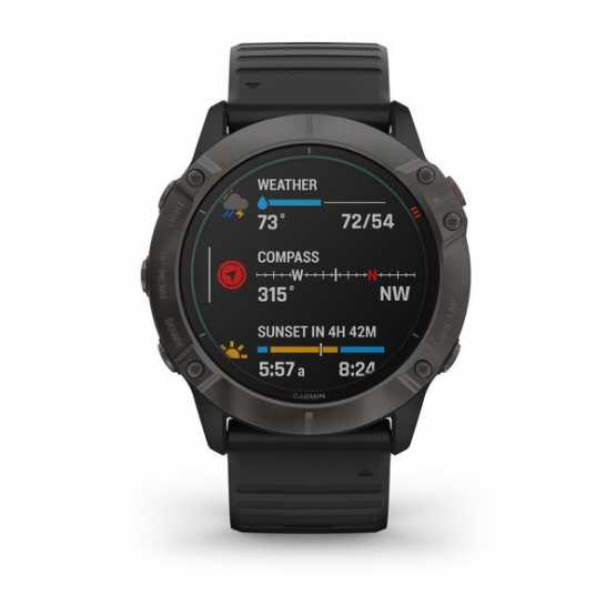 Часы для мультиспорта Garmin Fenix 6X Solar Titanium Carbon Gray DLC with Black Band (010-02157-21)