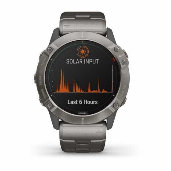 Часы для мультиспорта Garmin Fenix 6X Solar Titanium with Vented Titanium Bracelet (010-02157-24)