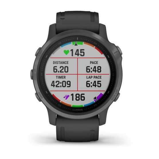 Годинник для мультиспорту Garmin Fenix 6S Sapphire Carbon Gray DLC with Black Band (010-02159-25)