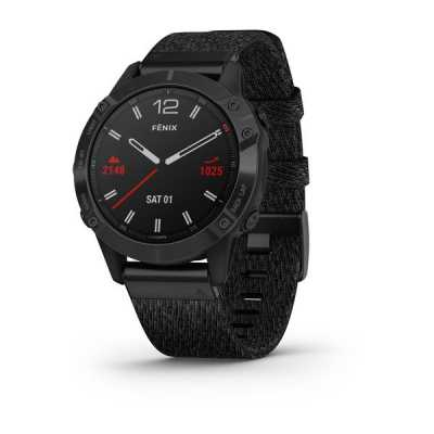 Garmin Fenix 6 Black DLC with Heathered Black Nylon Band