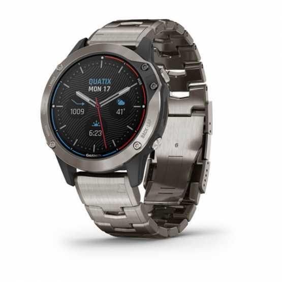 Морские часы для спорта Garmin Quatix 6 Titanium Titanium Gray With Titanium Band (010-02158-95)