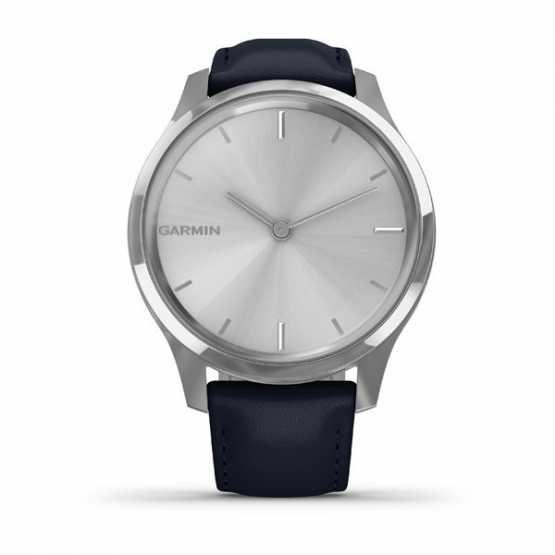 Годинник для спорту Garmin vivomove Luxe Silver-Blue Leather (010-02241-20)