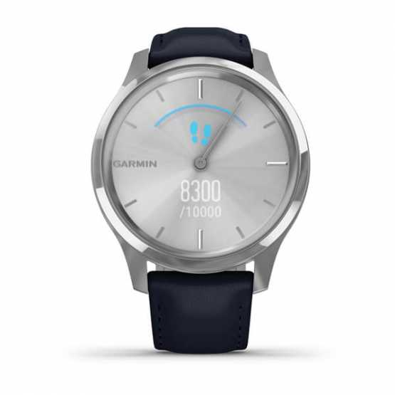 Часы для спорта Garmin vivomove Luxe Silver-Blue Leather (010-02241-20)