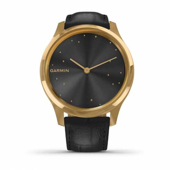 Годинник для спорту Garmin vivomove Luxe Pure Gold-Black Leather (010-02241-22)