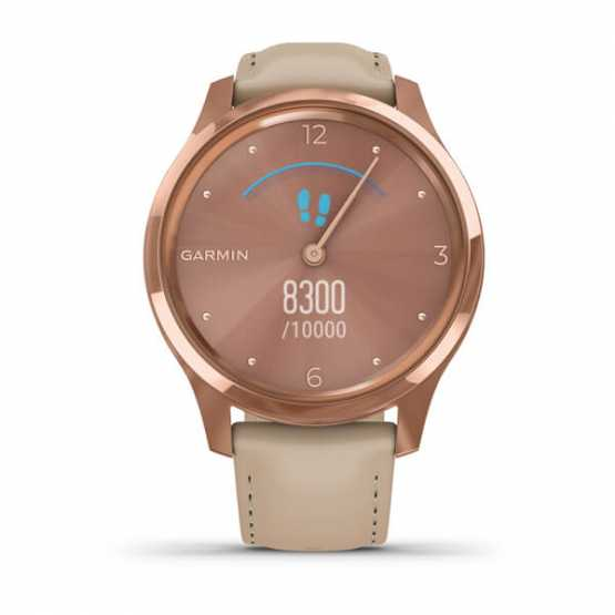 Часы для спорта Garmin vivomove Luxe Rose Gold-Beige Leather (010-02241-21)