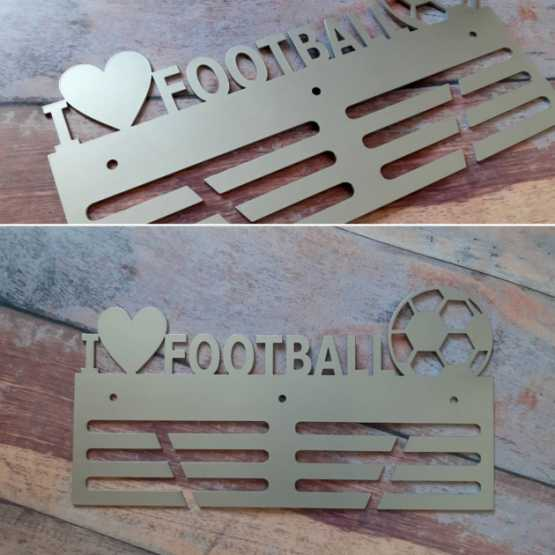 """Медальница """"КТМ"""" I LOVE FOOTBALL Футбол Стальная (серый)"""