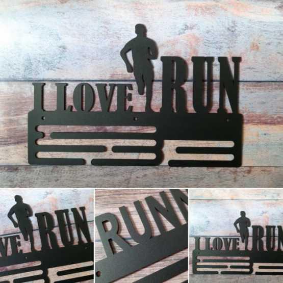 """Медальница """"КТМ"""" I LOVE RUN №2 (чоловіча) Сталевий (чорний)"""