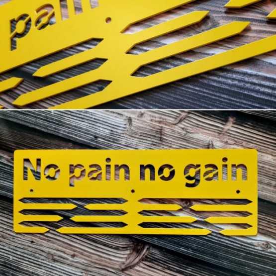 "Медальница ""КТМ"" NO PAIN NO GAIN Сталева (жовтий)"