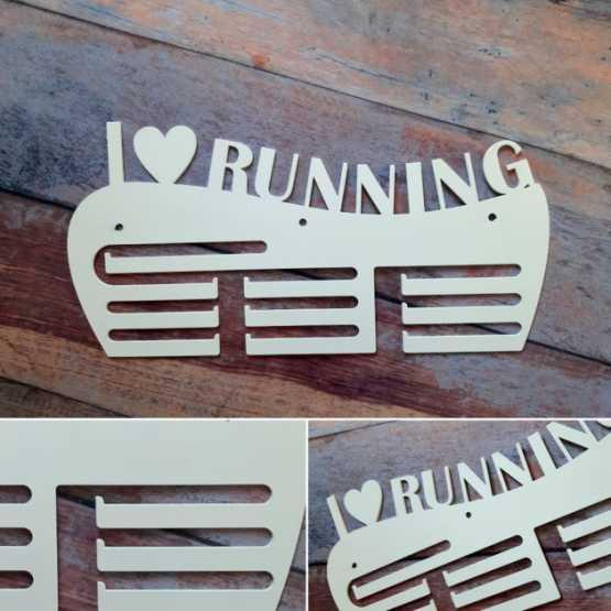 """Медальница """"КТМ"""" I LOVE RUNNING Сталева (білий)"""