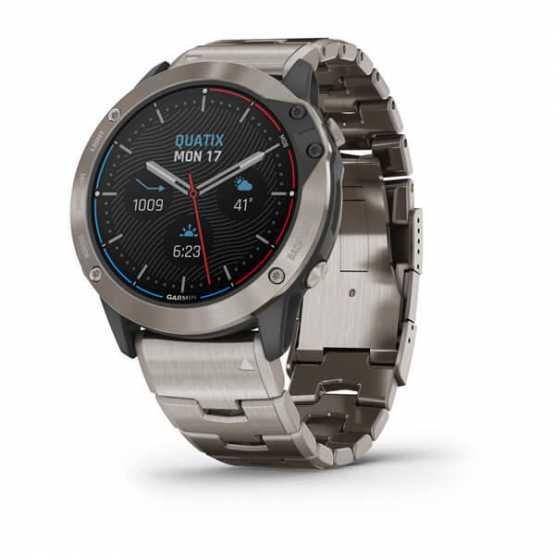 Морські годинник для спорту Garmin Quatix 6X Solar Titanium with Titanium Band (010-02157-31)