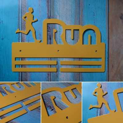 """Медальница """"КТМ"""" RUN №2 (чоловіча) Сталевий (жовтий)"""
