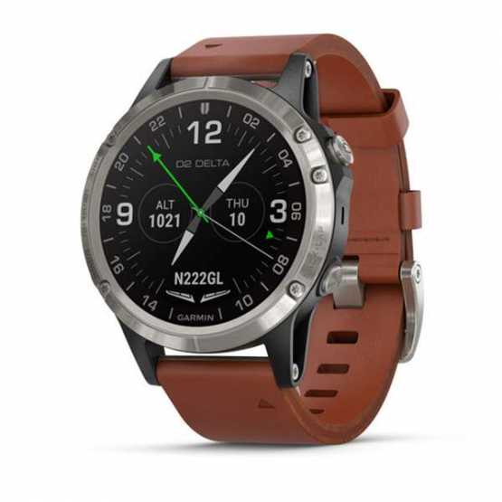 Элегантные авиационные часы Garmin D2 Delta Sapphire Black w/Brown Leather Band GPS Watch EMEA (010-01988-31)