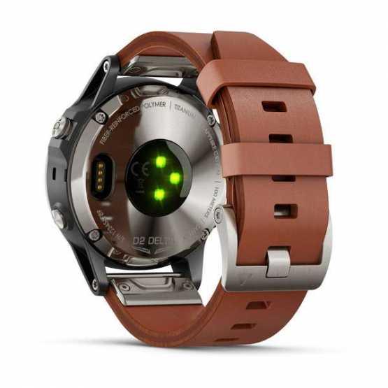 Элегантные авиационные часы Garmin D2 Delta Sapphire Black w/Brown Leather Band GPS Watch EMEA (010-01988-31)