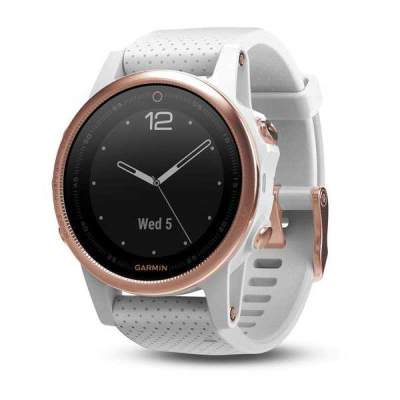 Garmin Fenix 5S Sapphire Rose gold tone with white band