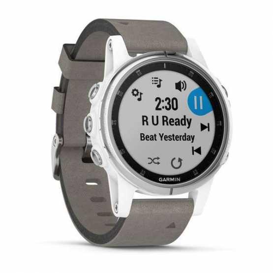 Спортивные часы Garmin Fenix 5S Plus Sapphire White с серым замшевым ремешком (010-01987-05)