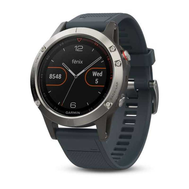 Garmin Fenix 5 - Silver with granite blue band
