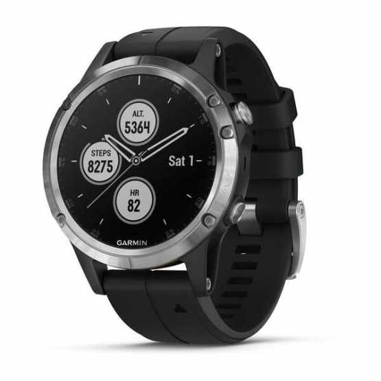 Часы для мультиспорта Garmin Fenix 5 Plus Silver with Black Band (010-01988-11)