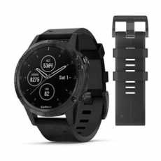 Garmin Fenix 5 Plus Sapphire, Black with Black Leather Band