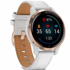Garmin Venu 2S Rose Gold with White Leather Band