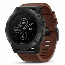 Garmin Fenix 5x Plus Sapphire Slate Grey with Brown Leather Band