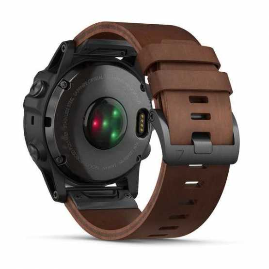 Часы для мультиспорта Garmin Fenix 5x Plus Sapphire Slate Grey with Brown Leather Band (010-01989-03)