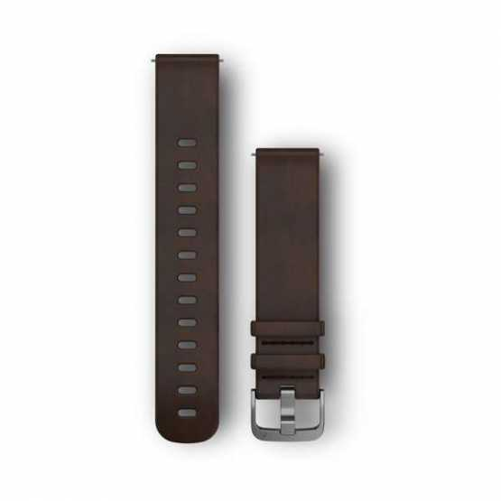 Ремешок для Garmin Vivoactive 3 Dark Brown Leather Band with Silver Hardware (010-12691-01)