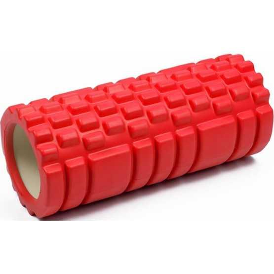 Масажний ролик EasyFit Grid Roller EF11 33 см (червоний, ролер, валик, циліндр)