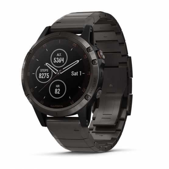 Garmin Fenix 5 Plus Sapphire Carbon Grey DLC Titanium with DLC Titanium Band (010-01988-03)