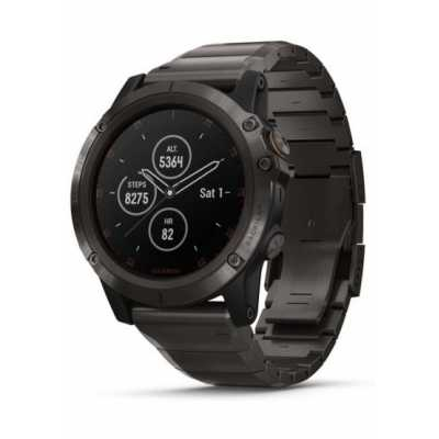 Garmin Fenix 5X Plus Sapphire, Carbon Gray DLC Titanium with DLC Titanium Band