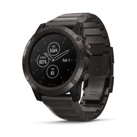 Часы для мультиспорта Garmin Fenix 5X Plus Sapphire, Carbon Gray DLC Titanium with DLC Titanium Band (010-01989-05)