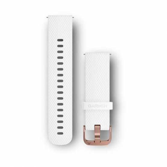 Ремешок для Garmin Vivoactive 3 White Silicone Band with Polished Rose Gold Hardware (010-12691-00)