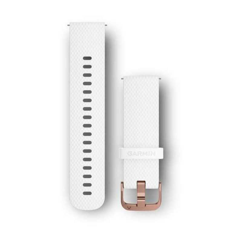 Ремешок для Garmin Vivoactive 3 White Silicone Band with Polished Rose Gold Hardware