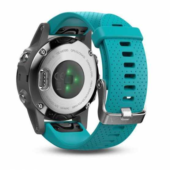 Часы для мультиспорта Garmin Fenix 5S - Silver with turquoise band (010-01685-01)