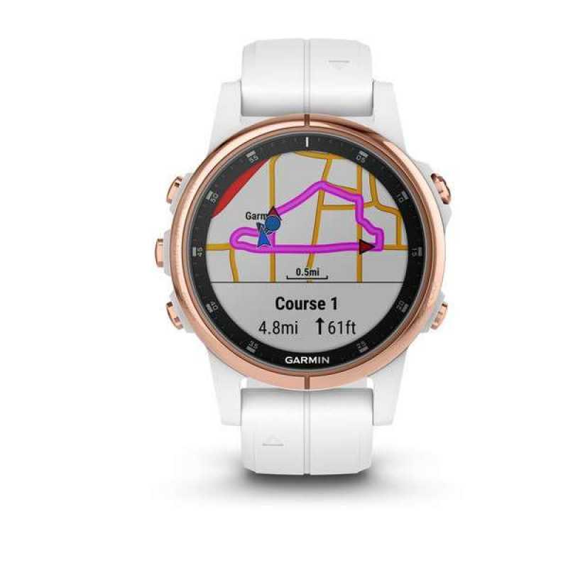 Годинник для мультиспорту Garmin Fenix 5S Plus Sapphire, Rose Gold-tone with White Carrara Band (010-01987-07)