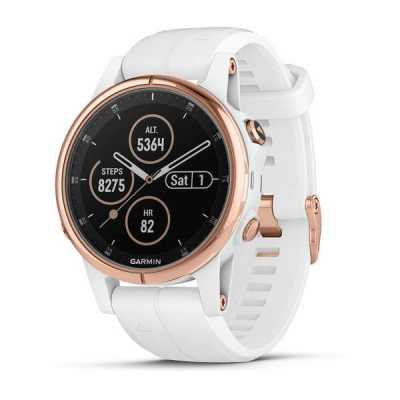 Garmin Fenix 5S Plus Sapphire, Rose Gold-tone with White Carrara Band